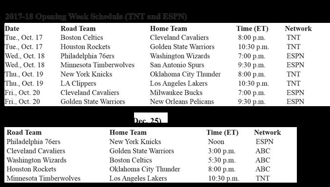 17-18 NBA Schedule